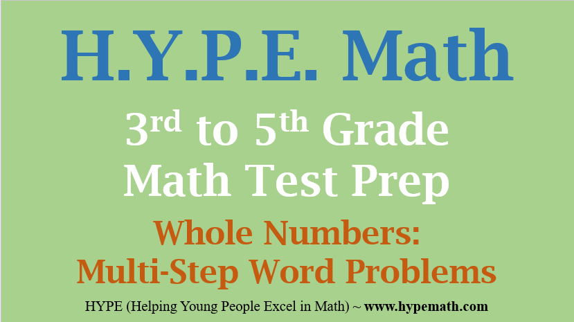 Grades 3rd To 5th Multi Step Word Problems Whole